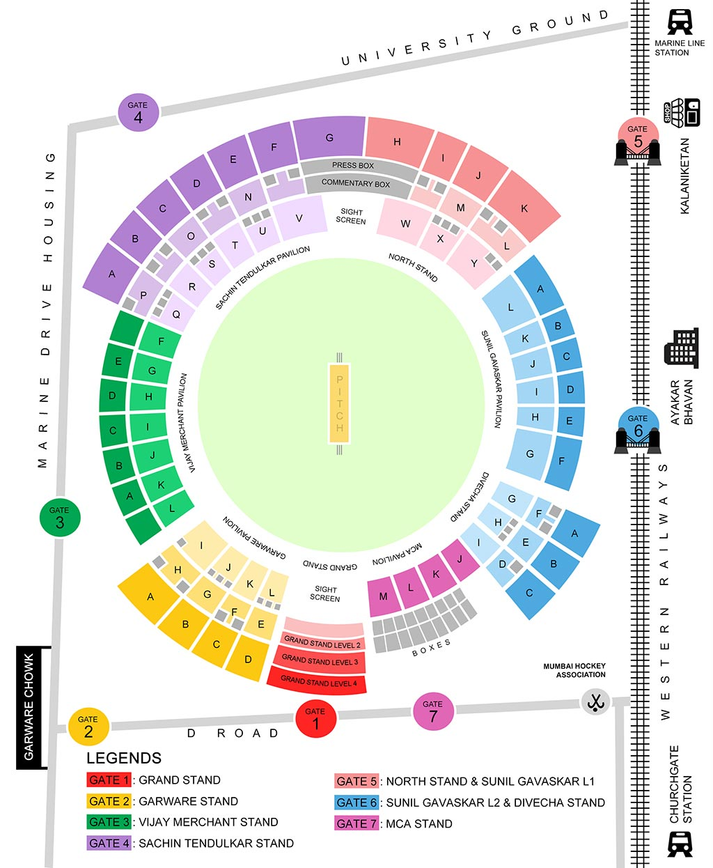 Wankhede Stadium Seating Arrangement Map