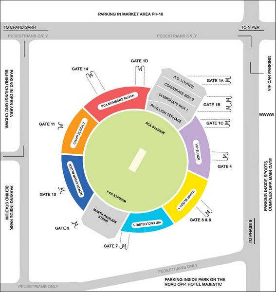 Mohali Cricket Stadium IPL Seating Map and Plan