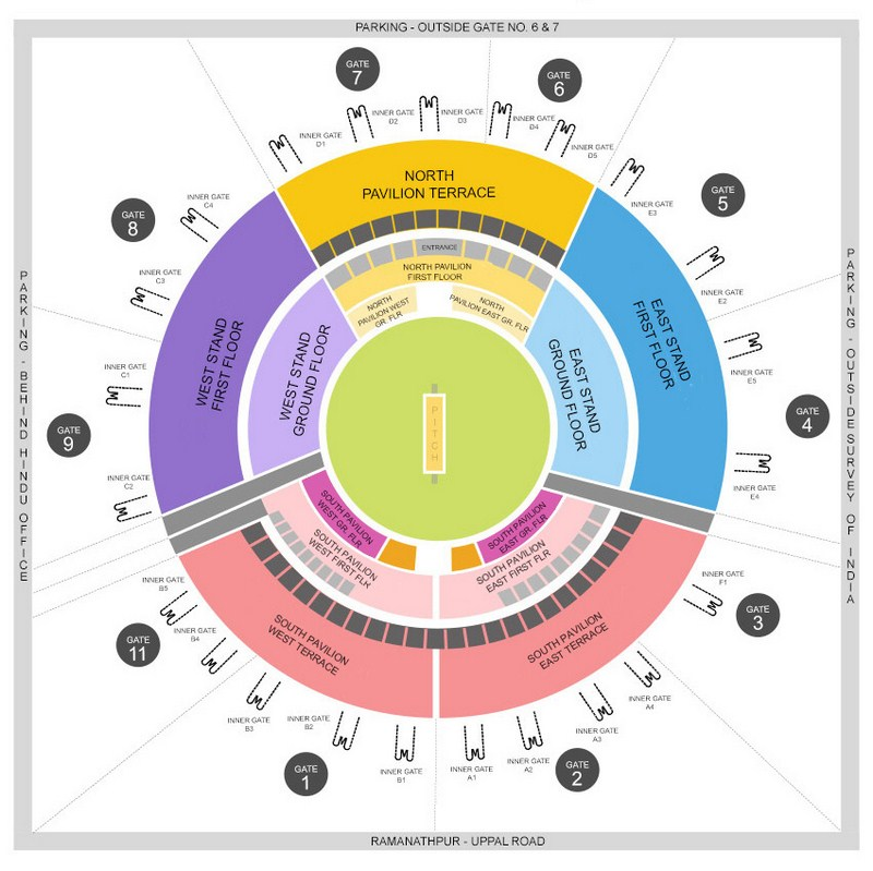 Rajiv Gandhi International Cricket Stadium Seating Map Arrangement