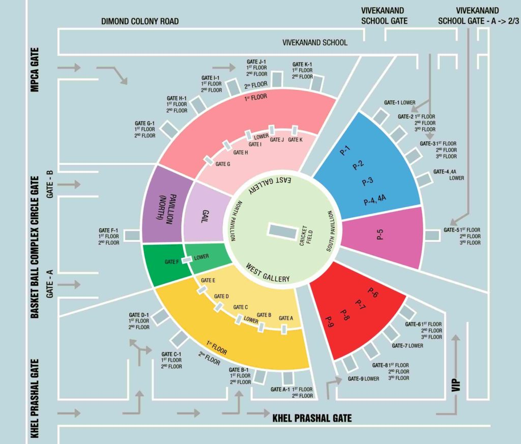 Holkar Stadium Indore Seating Map and Layout